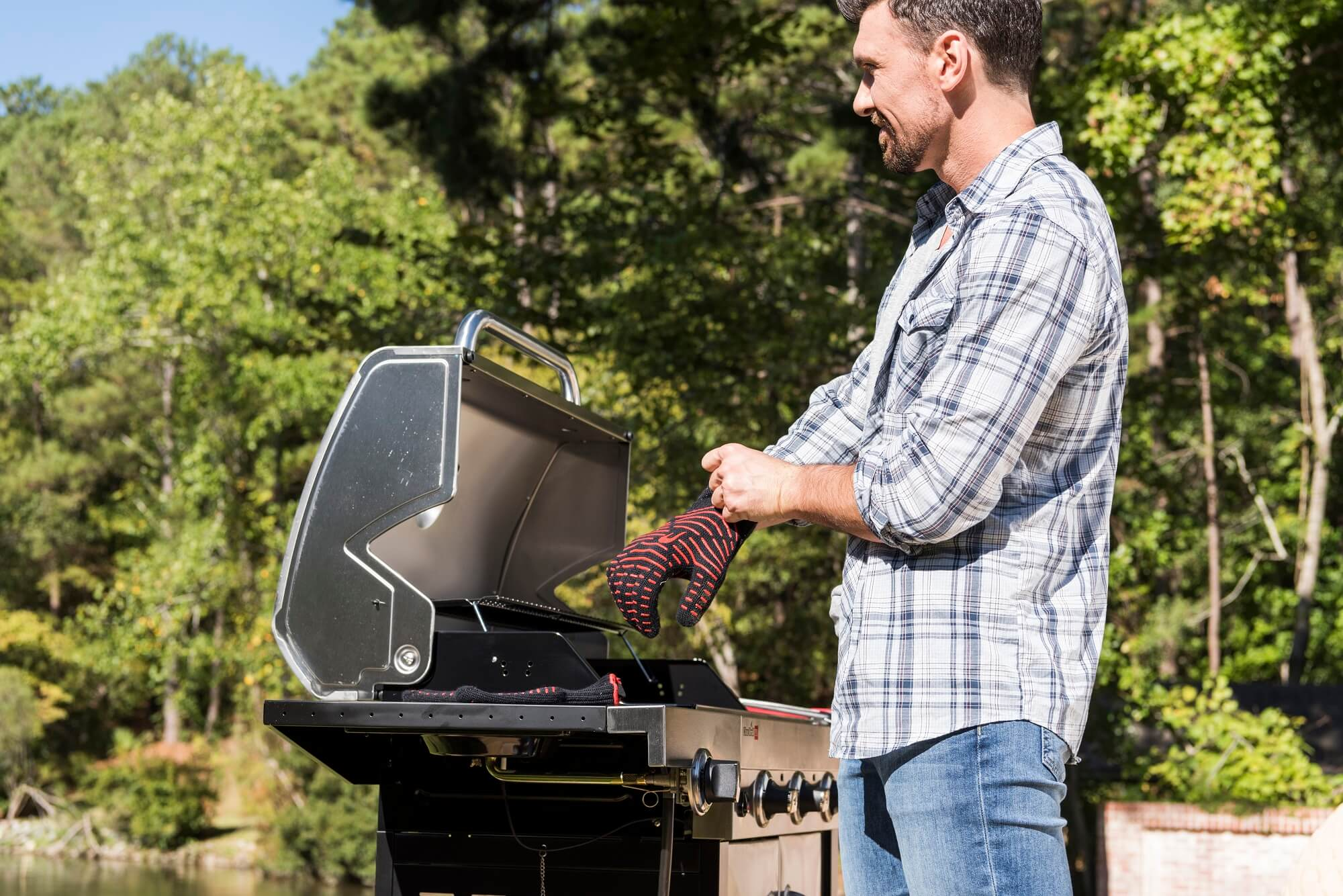 The gas grill makes sounds